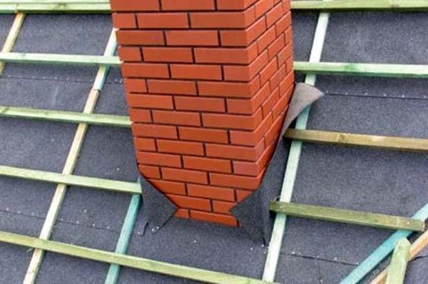 Проход кирпичной трубы через крышу