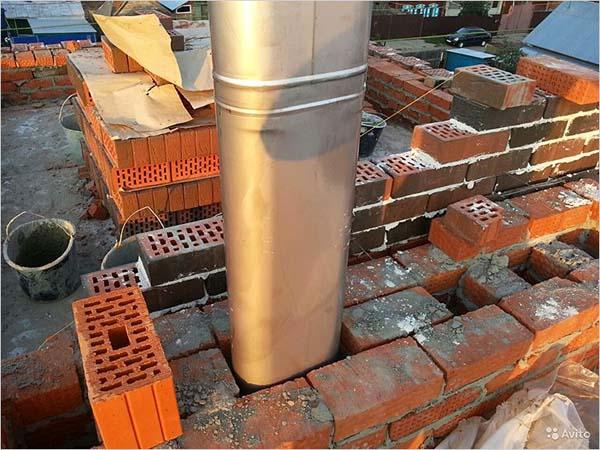 Гильзование дымохода на этапе строительства